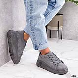 ТІЛЬКИ 39 р 25,5 см!!! Кросівки/ кеди жіночі сірі еко-замш весна - осінь, фото 3