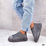 ТІЛЬКИ 39 р 25,5 см!!! Кросівки/ кеди жіночі сірі еко-замш весна - осінь, фото 5