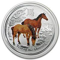 Оригинальный подарок из серебра, серебряная монета с сертификатом подлинностицветнаяЛОШАДЬ 2014 г. 1/2 унции