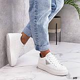 Жіночі кросівки - кеди білі з сірими еко-шкіра з перфорацією весна / літо/ осінь, фото 5
