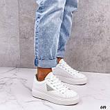 Жіночі кросівки - кеди білі з сірими еко-шкіра з перфорацією весна / літо/ осінь, фото 6