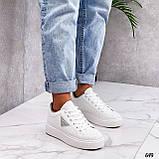 Жіночі кросівки - кеди білі з сірими еко-шкіра з перфорацією весна / літо/ осінь, фото 7