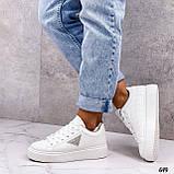 Жіночі кросівки - кеди білі з сірими еко-шкіра з перфорацією весна / літо/ осінь, фото 8