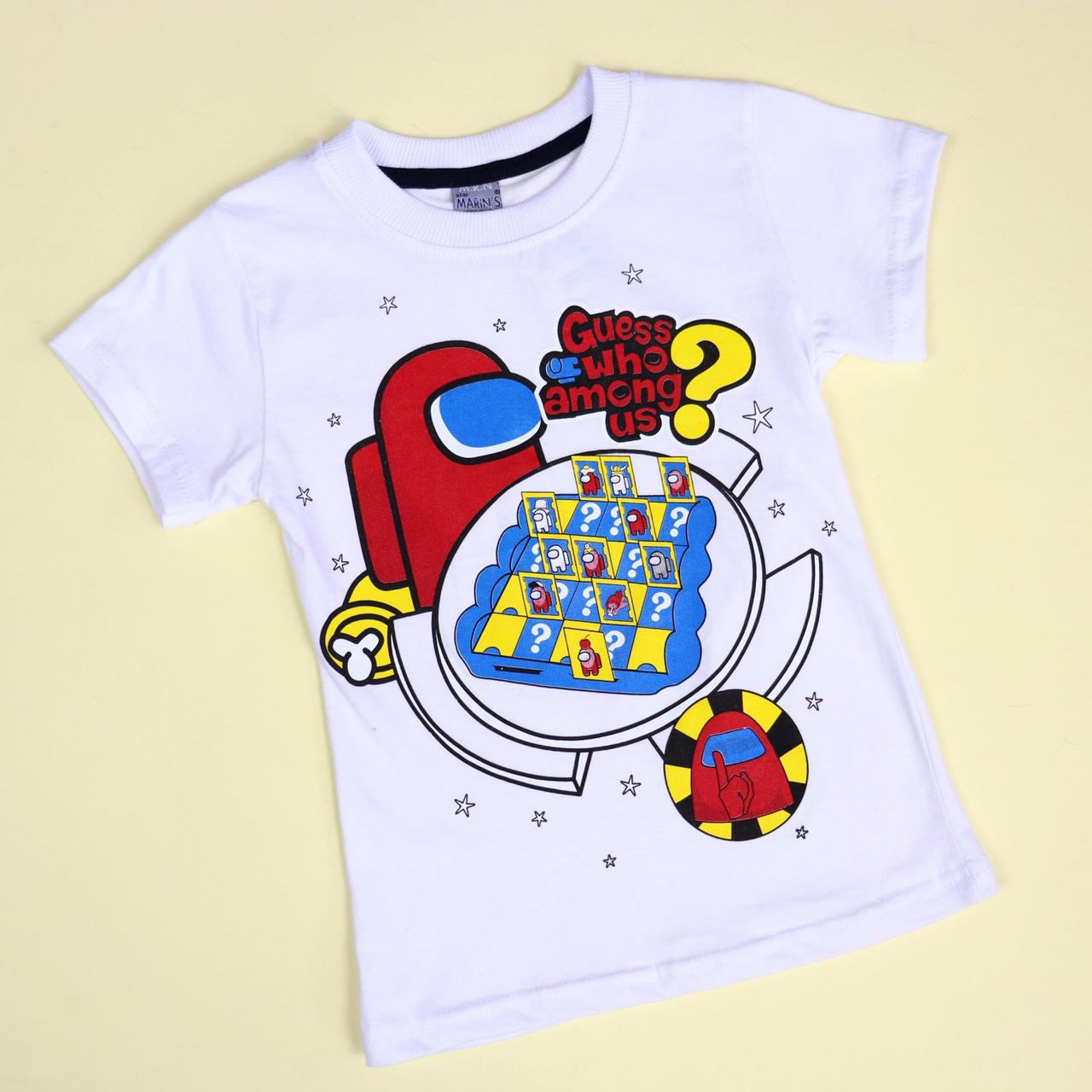26890бел Белая футболка для мальчика AMONG US тм MARIN'S размер 5,6,8 лет