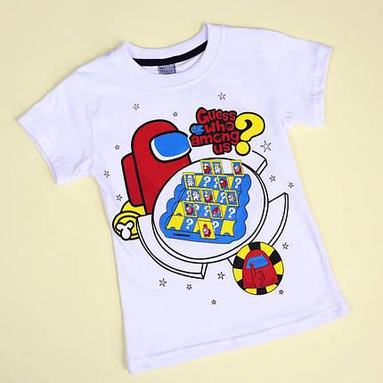 26890бел Белая футболка для мальчика AMONG US тм MARIN'S размер 5,6,8 лет, фото 2