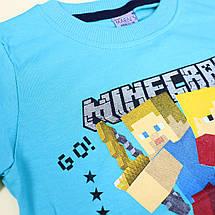 26892гол Голубая Футболка MiNECRAFT для мальчика тм MARIN'S размер 6,7 лет, фото 2