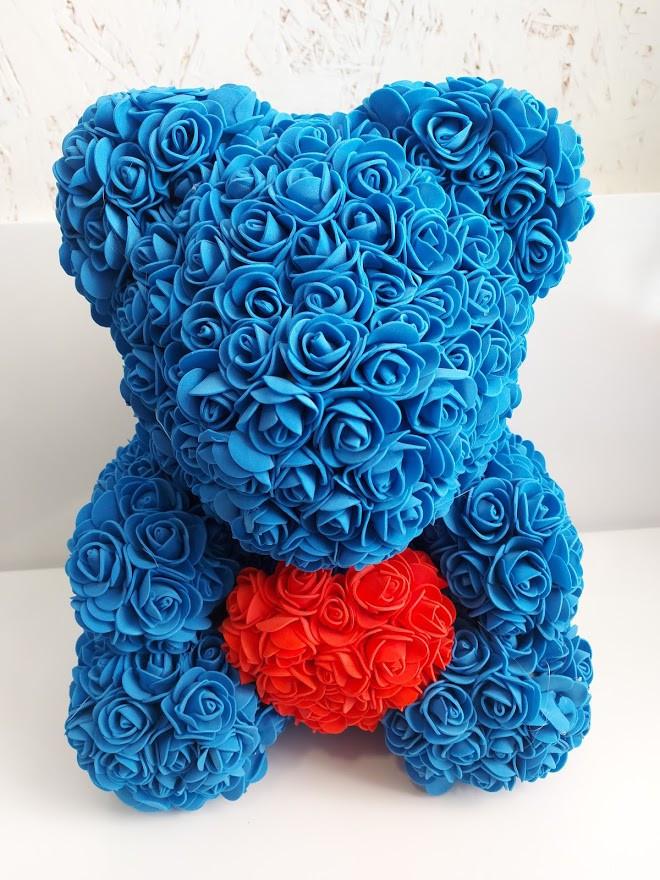 Мишка с сердцем из 3D роз Teddy Rose 40 см Синий