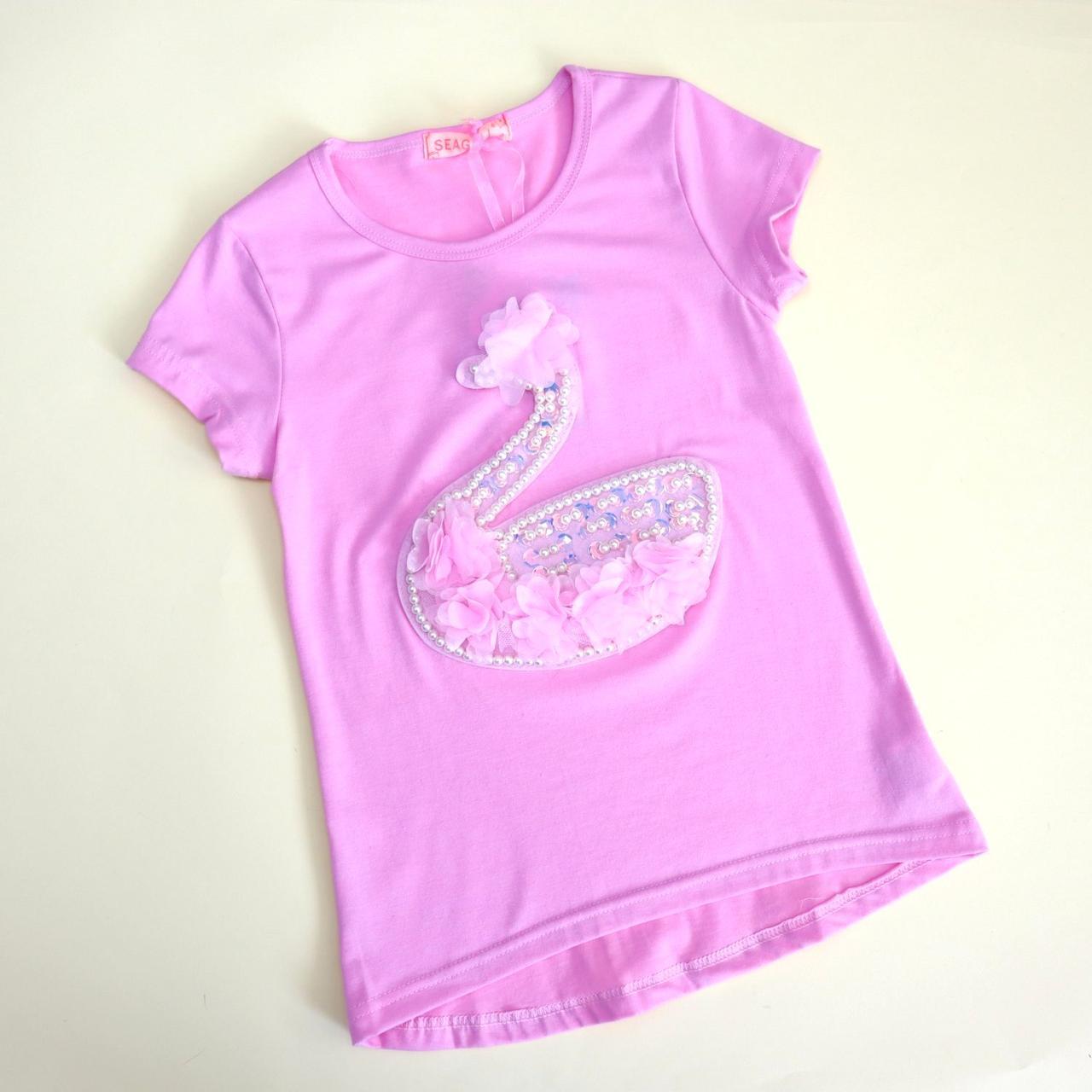 52659 Футболка рожева для дівчинки Лебідь з намистинами тм Seagull розмір 6,8 років