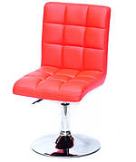 Стілець поворотний на металевій ніжці AUGUSTO CH-BASE екошкіра , колір червоний 1007