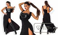 Женское платье в пол, дайвинг + эко кожа