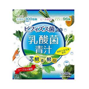 Yuwa Аодзиру з молочнокислими і біфідобактеріями, ферментами і дріжджами, смак йогурту, 20 стіків