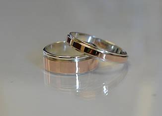 Пара серебряных обручальных колец с золотыми накладками (обр4Обр10)