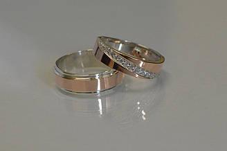 Пара серебряных обручальных колец с золотыми накладками (обр5053к)