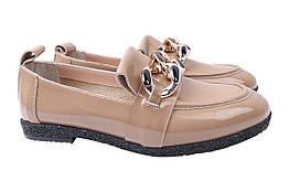 Туфли женские на низком ходу из натуральной лаковой кожи, бежевые Aquamarin Турция