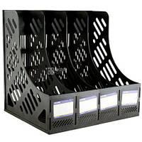 Лоток для паперів вертикальний збірний на 4 відділення Economix, пластик, чорний 31902