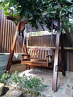 Садовые качели деревянные, подвесной диван-качели из Лиственницы