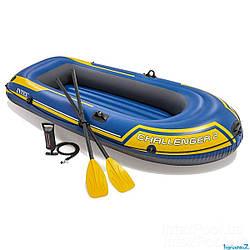 Intex надувний Двомісна човен 68367 NP Challenger 2 Set, 236 х 114 х 41 см, з веслами
