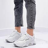 ТІЛЬКИ на 24 см!!! Жіночі кросівки білі з сірими текстиль+ еко шкіра весна - осінь, фото 3