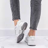 ТІЛЬКИ на 24 см!!! Жіночі кросівки білі з сірими текстиль+ еко шкіра весна - осінь, фото 4