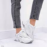 ТІЛЬКИ на 24 см!!! Жіночі кросівки білі з сірими текстиль+ еко шкіра весна - осінь, фото 5