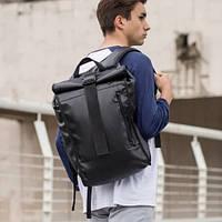Рюкзак мужской городской кожаный черный, мужской рюкзак спортивный для ноутбука,кожаный рюкзак черный