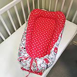 """Кокон-гніздечко для новонароджених двосторонній """"Коти сірі і червоні"""", фото 2"""