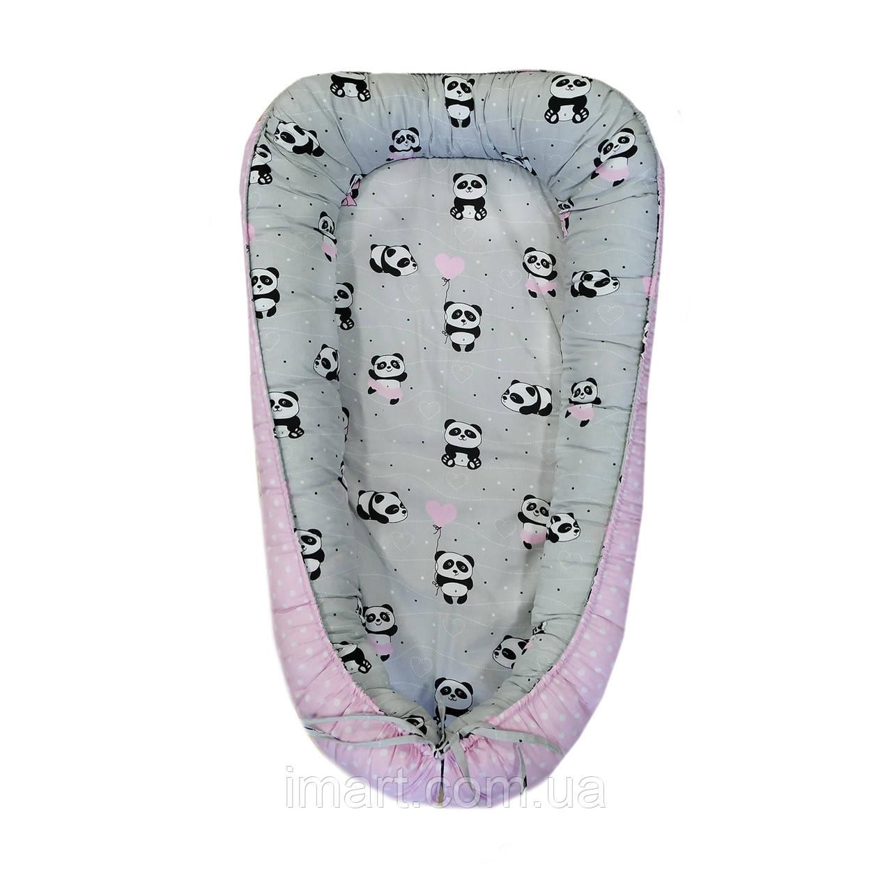 """Кокон-гнездышко для новорожденных, позиционер двухсторонний """"Панды с розовым шарфом"""""""