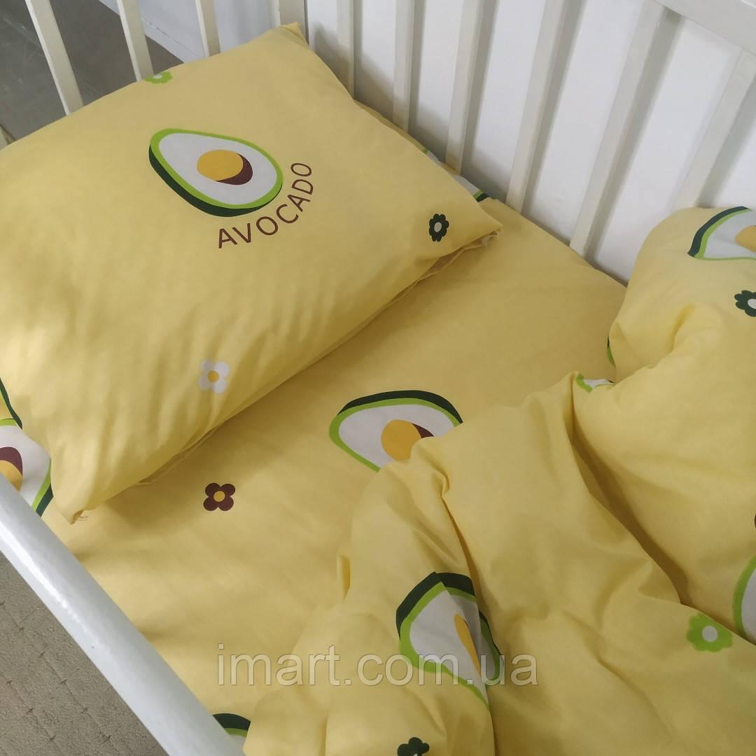 """Комплект постельного белья в кроватку для ребенка ранфорс 110х140см """"Авокадо"""""""