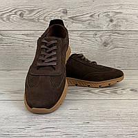 Кроссовки мужские из нубука на полиуретане весна лето коричневые, повседневные кросовки с шнурками