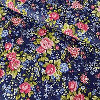 Бязь Премиум с розовыми розами на темно-синем фоне, ш. 150 см