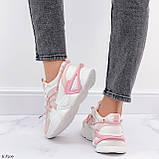 Женские кроссовки розовые / пудра с белым на платформе 6 см эко-кожа, фото 3