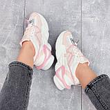 Женские кроссовки розовые / пудра с белым на платформе 6 см эко-кожа, фото 4