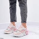 Женские кроссовки розовые / пудра с белым на платформе 6 см эко-кожа, фото 7