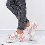 Женские кроссовки розовые / пудра с белым на платформе 6 см эко-кожа, фото 5
