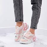 Женские кроссовки розовые / пудра с белым на платформе 6 см эко-кожа, фото 6