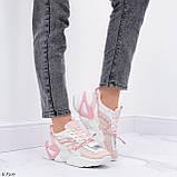 Женские кроссовки розовые / пудра с белым на платформе 6 см эко-кожа, фото 8