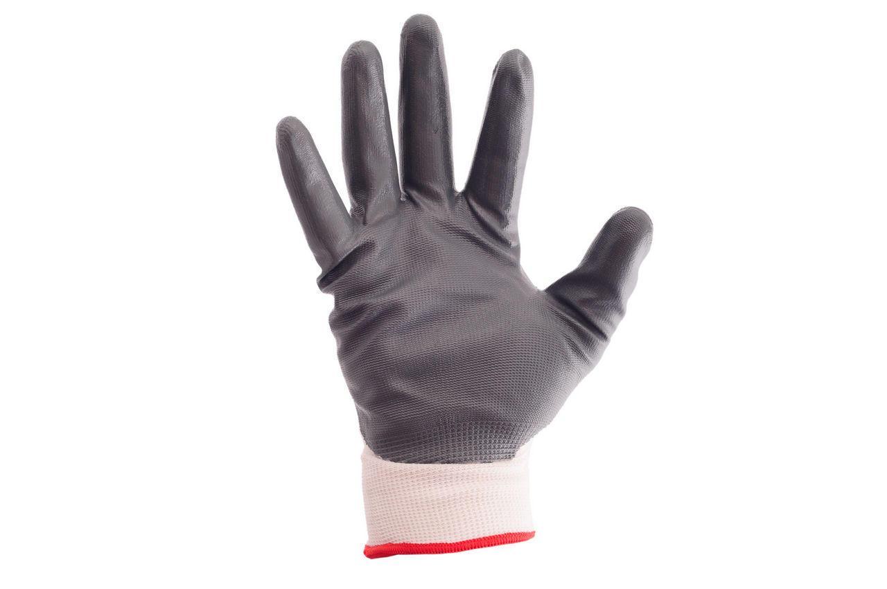 """Перчатки рабочие Intertool - с нитриловым покрытием 10"""" (бело-серая)"""