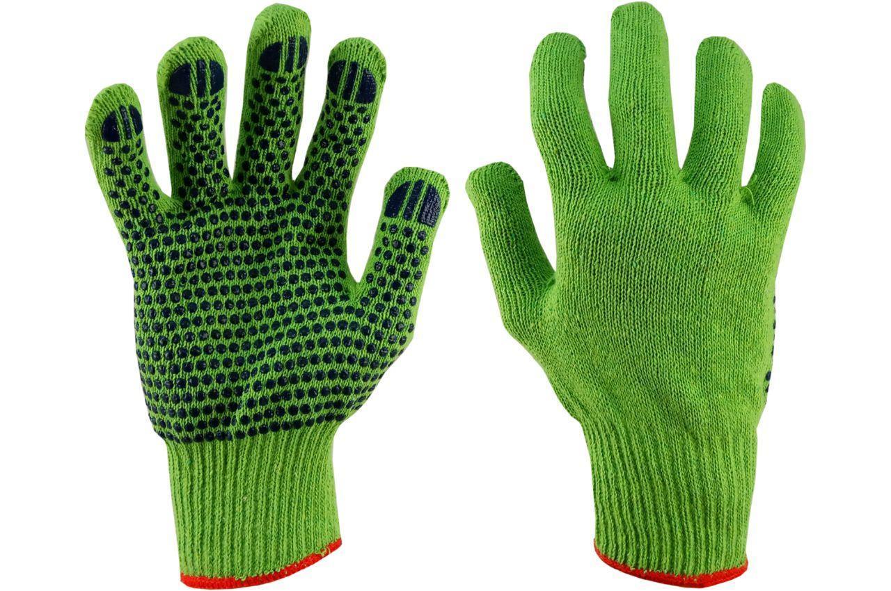 """Перчатки рабочие PRC - х/б зеленая с точкой 10"""""""