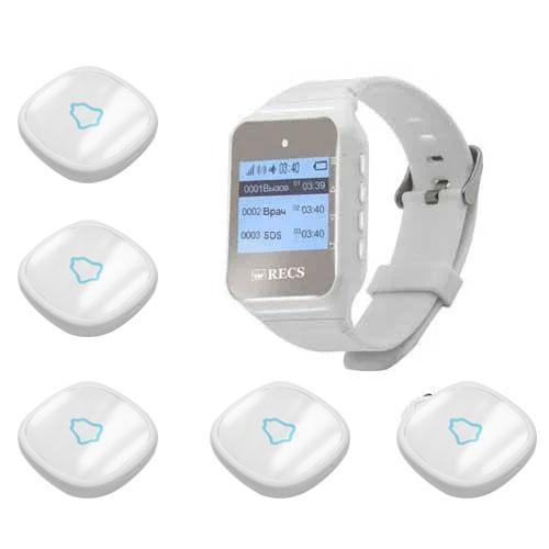 Система виклику медперсоналу RECS №42 | кнопки виклику медсестри 5 шт + пейджер персоналу