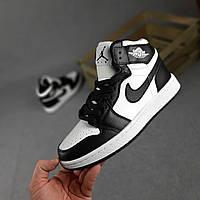 Кроссовочки для мужчин Nike Air Jordan Retro 1 черно-белые Мужские кроссовки Найк Аир Джордан Ретро черные с