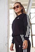 Спортивный костюм Adidas Женский свитшот штаны лампасы весна/осень LUX Реплика (Размер S) Black