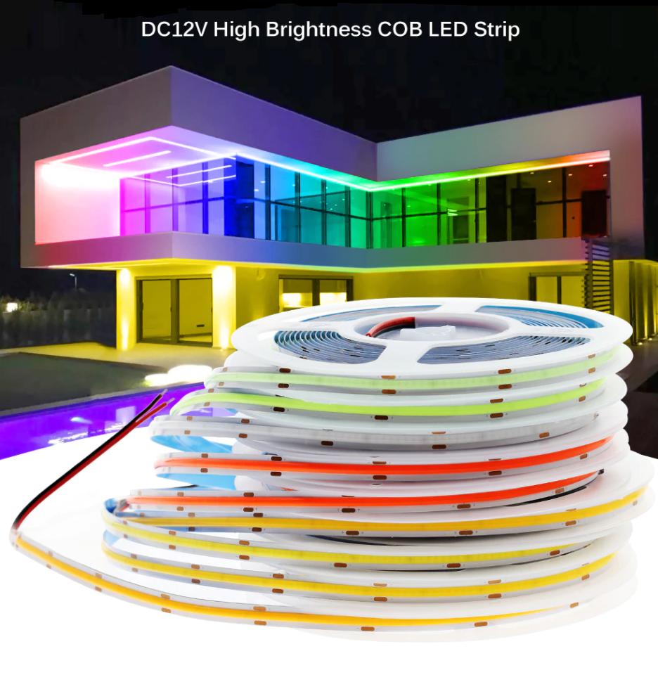 Светодиодная лента COB/FOB 12v сплошного свечения. Нейтральный белый 4000К премиум СОВ