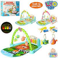 Дитячий килимок для немовлят піаніно Музика, світло, MP3, мікрофон.