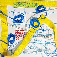 Сетка для пляжного волейбола «ТРАНЗИТ» волейбольная сетка пляжная с тросом сине-желтая