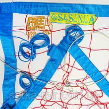 Сетка для пляжного волейбола «ТРАНЗИТ» с тросом красно-синяя