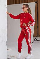 Спортивный костюм Adidas Женский свитшот штаны лампасы весна/осень LUX Реплика (Размер S) Red