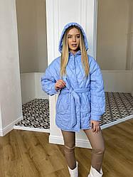 Актуальная стеганая куртка с поясом Пазл 10890