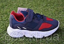 Детские кроссовки на липучках Adidas адидас синий красный р30-35, копия