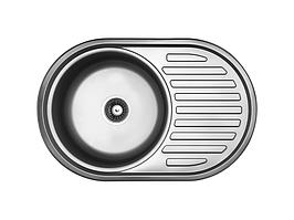 Кухонна мийка Kuchinox FARO 1-камерна с крилом, 770х500х180 мм, виконання льон