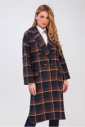 Пальто женское демисезонное шерстяное в клетку, Росарио| 42, 44, 46, 48, 50 размеры